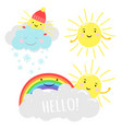 cute sunny with cartoon sun vector image vector image