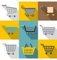 different cart icons set flat style vector image vector image