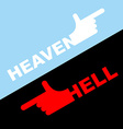 Direction of hell and heaven White hand in vector image vector image