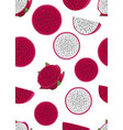dragon fruit slice seamless pattern on a white vector image vector image