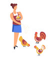 farming woman feeding hens and rooster isolated vector image vector image