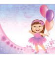 Glamorous birthday background with little girl vector image vector image