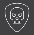 guitar pick with skull line icon music vector image vector image