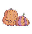 happy halloween celebration funny striped pumpkins vector image