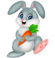 Happy rabbit holding carrot vector image