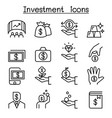 investment icon set in thin line style vector image vector image