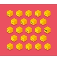 Isometric emoticons cube square colorful icons vector image vector image