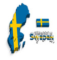 kingdom of sweden 3d flag and map vector image vector image