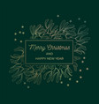 mistletoe greeting card gold frame vector image vector image