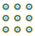 money collapse icons set flat style vector image vector image