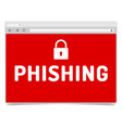 phishing alert on opened internet browser window vector image