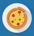Pizza on the plate colorful icon vector image vector image
