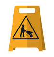 plastic caution emblem and laborer with vector image