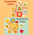 scandinavian cuisine dinner dishes icon set vector image vector image