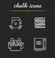 school and education chalk icons set vector image