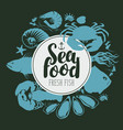 Seafood emblem with silhouettes sea inhabitants vector image