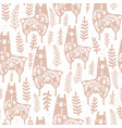 seamless pattern with cute floral llamas creative vector image