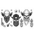 set cowboys vector image vector image