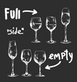 set different glasses ful and empty vector image vector image