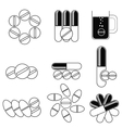 Set of Different Pills Icons vector image
