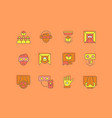 set simple line icons virtual reality vector image vector image