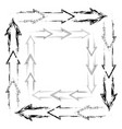 set square frames from grunge and line arrows