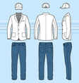 Simple outline drawing of a blazer jeans and cap vector image vector image