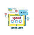 social media connection in the digital network vector image vector image