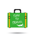 suitcase flat on white background time to travel vector image vector image