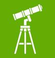 telescope icon green vector image vector image