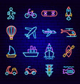 transport neon icons vector image vector image