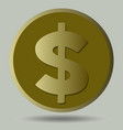 us dollar symbol on gold coin isolated object on vector image