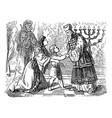 vintage drawing biblical story elkanah and vector image
