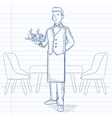 Waiter holding tray with beverages vector image vector image