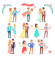 wedding icons happy couple on vector image