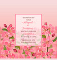 wedding invitation with cherry blossom vector image vector image