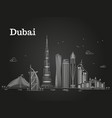 White linear dubai panorama with skylines and
