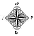 wind rose in mandala style nautical compass icon vector image vector image