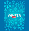 winter sale poster with snowflakes blue background vector image