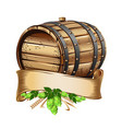 wooden beer barrel still life vector image