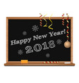happy new year 2018 written on the blackboard vector image