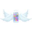 a new smart mobile phone flying with wings vector image
