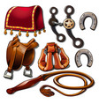 attributes of cowboy and horse accessories vector image