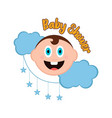 baby shower label with a baby vector image