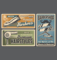 barbershop chair haircut machine straight razor vector image vector image