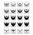 Beard with moustache or mustache icons set vector image vector image