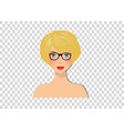 beautiful blonde girl with blue eyes and glasses vector image