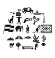 central america icons set simple style vector image