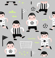 Childish seamless pattern with boy football player