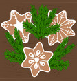 christmas cookies and christmas tree branches vector image vector image